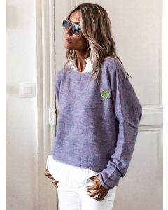 Dresswel Women Solid Color Long Sleeve Heart Graphic Applique Sweater Tops