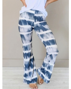 Dresswel Women Gradient Tie-dyed Colorblock Casual Comfy Trousers Wide-leg Pants