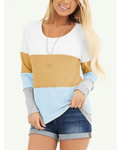 Dresswel Women Colorblock Long Sleeve Crew Neck Blouse Casual Loose Fit T-Shirts Tops