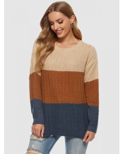 Dresswel Women Color Block Round Neck Long Sleeve Loose Fit Knitted Sweater Tops