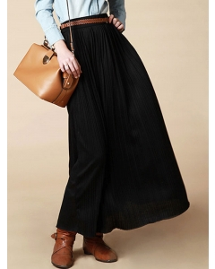 Dresswel Women High Waist Solid Color Elastic Pleated Skirt Loose Fit Casual A-Line Cotton Long Skirt