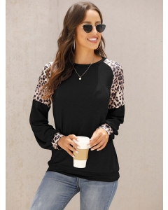 Dresswel Women Leopard Stitching Pullover Contrast Color Long Sleeve T-Shirt Tops