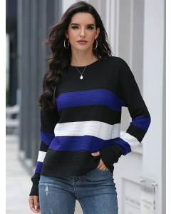 Dresswel Women Colorblock Long Sleeve Crew Neck Comfy Pullover Casual Sweater Tops