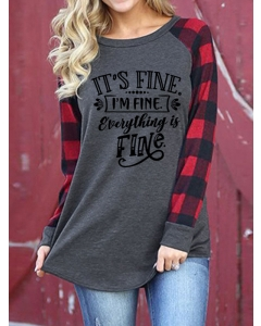 Dresswel Women It's Fine I'm Fine Everything Is Fine Color Block Blouse Tops