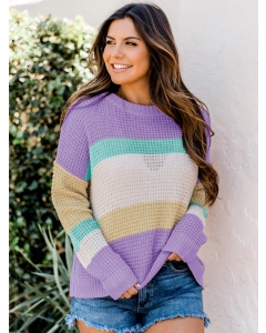 Dresswel Women Color Block Round Neck Long Sleeve Colorful Knitted Sweater Tops