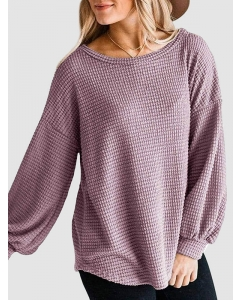 Dresswel Women Solid Color Round Neck Long Sleeve Pullover Sweatshirts Tops