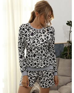 Dresswel Women Leopard Printed Crew Neck Long Sleeve Top Shorts Set Casual Sleepwear Tops