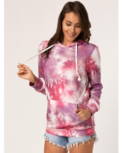 Dresswel Women Tie-dye Print Hooded Drawstring Kangaroo Pocket Long Sleeves Hoodies Tops