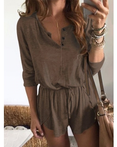 Dresswel Women Solid Color Button Up Crew Neck Lacing Long Sleeve Romper Bottoms