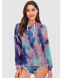 Dresswel Women Tie Dye Long Sleeve Hooded Sweatshirt with Drawstring Casual Hoodies Tops