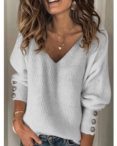 Dresswel Women Pure Color Versatile V-neck Loose Long-sleeved Buttons Sweater Tops