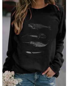 Dresswel Women Whale Graphic Printed Crew Neck Long Sleeve Loose Pullover Fashion Sweatshirts Tops
