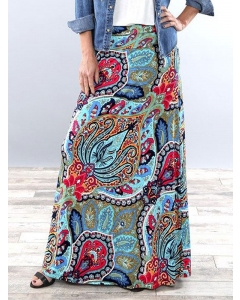 Dresswel Women Ethnic Printed High Waist Slim Fit Fashion Comfy Elastic Full Skirt Bottoms