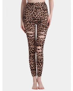Dresswel Women Leopard Camouflage Snake Print Sports Leggings Ripped Yoga Pants Bottoms