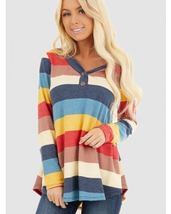 Dresswel Women Long Sleeve V Neck Buttons Multicolor Stripes Print T-shirt Tops
