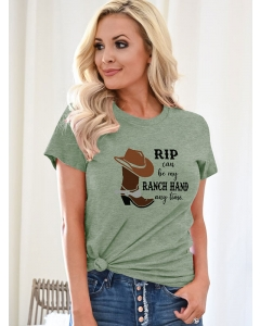 Dresswel Women Rip Can Be My Ranch Hand Any Time Crew Neck Short Sleeve T-Shirts Top