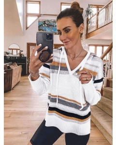 Women Stripe Stitching Hooded Knitwear Loose V-neck Colorblock Sweater Tops