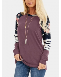 Dresswel Women Floral Printing Stitching Stripes Round Neck Long Sleeve T Shirt Top
