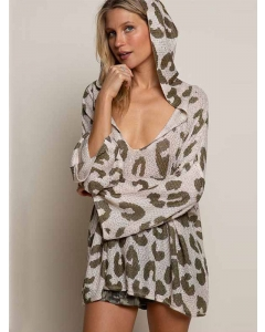 Dresswel Women Leopard Printed Hooded Deep V Neck Sexy Knitted Sweater Tops