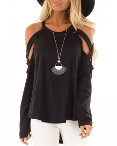 Dresswel Women Solid Color Crew Neck Cold Shoulder Long Sleeve Casual Fashion Blouse Tops