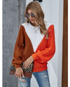 Dresswel Women Colorblock Crew Neck Long Sleeve Knitwear Casual Loose Sweater Tops