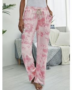Dresswel Women Tie Dye Printed High Waist Pockets Elastic Waistband Casual Pants Bottoms