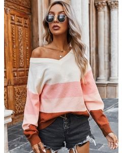 Dresswel Women Stripe Printed Color Block V Neck Loose Fit Pullover Sweater Tops