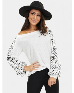 Dresswel Women Polka dot Color Block Crew Neck Long Sleeves Loose T-Shirt Top
