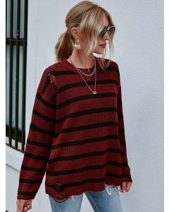 Dresswel Women Color Block Stripe Printed Crew Neck Ripped Knitted Sweater Tops