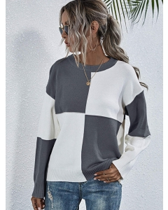 Dresswel Women Checked Color Block Long Sleeve Round Neckline Loose Casual Sweater Tops
