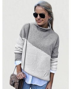 Dresswel Women Color Block High Collar Pullover Long Sleeves Loose Sweater Top
