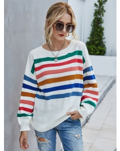 Dresswel Women Long Sleeve Multicolor Striped Color Block Knitted Sweater Tops