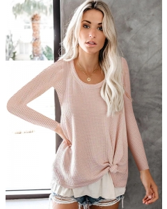 Dresswel Women Solid Color Long Sleeve Knitwear Round Neck Pullover Sweater Tops
