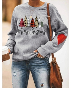 Dresswel Women Merry Christmas Plaid Leopard Letter Graphic Printed Sweatshirts Tops