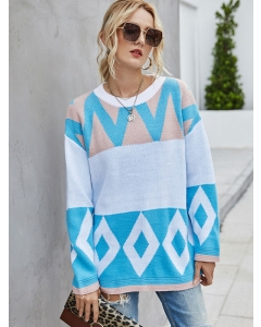 Dresswel Women Geometric Print Color Block Crew Neck Loose Long Sleeves Sweater Top