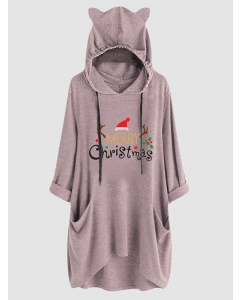 Dresswel Women Merry Christmas Letter Graphic Printed Long Sleeve Hooded Loose Fashion Hoodies Tops