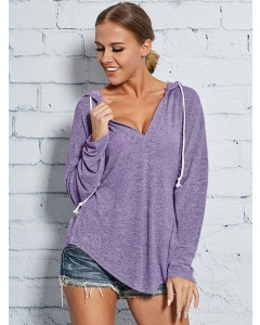 Dresswel Womens Deep V Neck Solid Pullover Drawstring Sexy Loose Fit Hoodie Tops