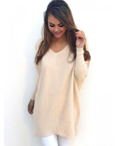 Dresswel Women Solid Color Splicing V-neck Long Sleeves Thin Bottoming Sweater Tops