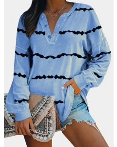Dresswel Women Stripes Printed V-neck Button Long Sleeve Colorblock T-shirt Tops