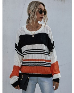 Dresswel Women Tricolor Stitching Striped Knitwear Long Sleeves Knitted Sweater Tops