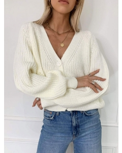Dresswel Women Solid Color V Neck Long Sleeve Loose Button Knitted Cardigan Tops