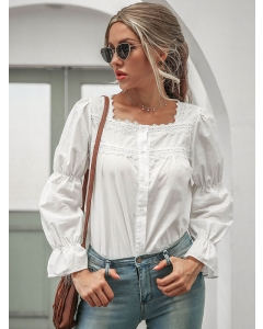 Dresswel Women Square Neck Flared Sleeve Single-breasted Long Sleeves Shirt Tops