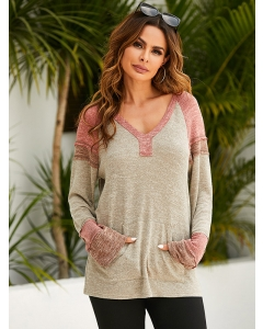 Dresswel Women V Neck Long Sleeve Color Block Pocket Loose Casual Knitted Hoodies Tops