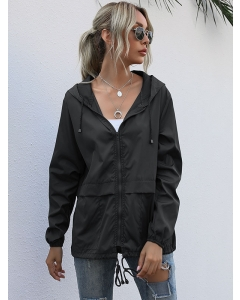Dresswel Women Solid Color Hooded Drawstring Lacing Zipper Up Overlay Jacket Tops