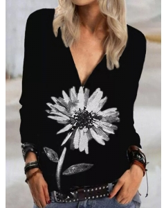 Dresswel Women Floral Graphic Printed Deep V Neck Sexy Pullover Sweatshirts Tops