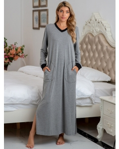 Dresswel Women Colorblock V Neck Long Sleeve Side Split Pockets Home Wear Maxi Dress