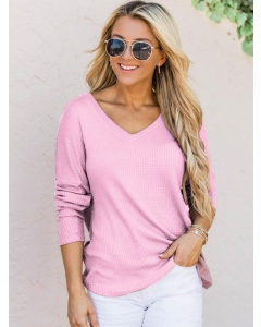 Dresswel Women Plain Pullover Knitted V Neck Long Sleeves Loose Sweater Top