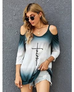 Dresswel Women Faith Tie Dye Letter Printed 3/4 Sleeve Cold Shoulder T-shirts Tops