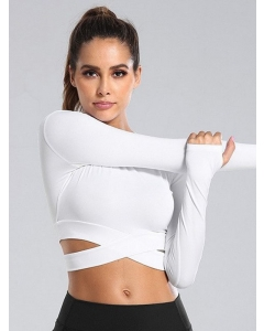 Dresswel Women Cross Bandage Workout Elastic Yoga Cropped Solid Color T-shirts Tops