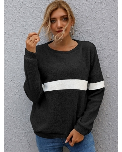 Dresswel Women Crew Neck Stripe Color Block Long Sleeve Casual Loose Sweatshirts Tops